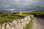 Old barn and dry stonewalls, Malham, Yorkshire Dales national park, England, UK