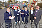 TRAFFIC WATCH: Students at Listowel Community College who conducted a traffic survey outside the school last week as part of a maths project, l-r: Cillian Downey, Kelly Broderick, Lucy Shine, Shauna Brouder, Seanie Ryan, Jean Dore (Teacher), Stephen Goulding (Deputy Principal).