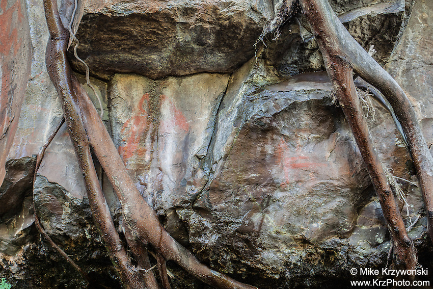 Hawaiian pictographs, Maliko Gulch, Maui