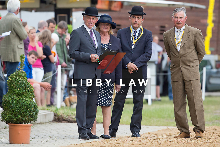CCI4* FIRST HORSE INSPECTION: Ground Jury: (L-R) GER-Ernst Topp; AUS-Gillian Rolton; FRA-Alain James: 2014 GER-Luhmühlen International Horse Trial (Wednesday 11 June) CREDIT: Libby Law COPYRIGHT: LIBBY LAW PHOTOGRAPHY - NZL