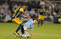 Kansas City, KS - Wednesday September 20, 2017: Tyler Adams, Diego Rubio during the 2017 U.S. Open Cup Final Championship game between Sporting Kansas City and the New York Red Bulls at Children's Mercy Park.