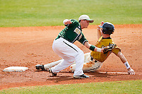 Shortstop Justin Roland #16 of the Charlotte 49ers reaches for a throw as Ryan Gebhart #37 of the Missouri Tigers steals second base at Robert and Mariam Hayes Stadium on February 27, 2011 in Charlotte, North Carolina.  Photo by Brian Westerholt / Four Seam Images