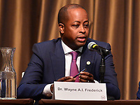 New York, NY - April 5, 2019: Dr. Wayne A. I. Frederick, President of Howard University, speaks during the National Action Network's Annual Convention hosted by the Rev. Al Sharpton at the Sheraton Hotel in New York City April 5, 2019.  (Photo by Don Baxter/Media Images International)