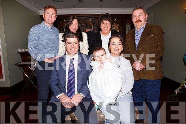 Baby Jack Roantree of London and Ballyrickard Court at his christening party in the Imperial Hotel on Saturday afternoon last. <br /> Seated l-r, Mom and Dad, Melissa and Joesph Roantree .<br /> Back l-r, Brendan and Ann Roantree (Grandparents), Breda and Mickey Joe Cronin (Grandparents).