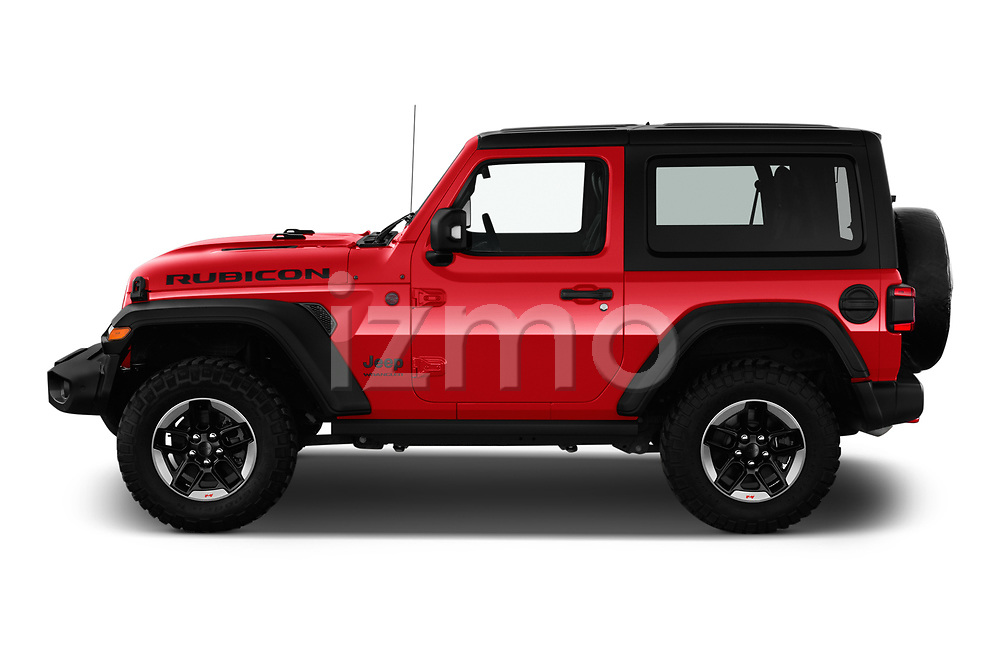 Car Driver side profile view of a 2019 JEEP Wrangler Rubicon 5 Door SUV Side View