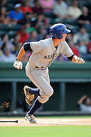 Right fielder Jordan Patterson (10) of the Asheville Tourists in a game against the Greenville Drive on Sunday, July 20, 2014, at Fluor Field at the West End in Greenville, South Carolina. Asheville won game two of a doubleheader, 3-2. (Tom Priddy/Four Seam Images)