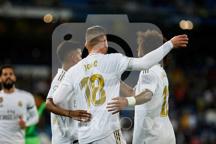 Luka Jovic of Real Madrid celebrates goal during La Liga match between Real Madrid and CD Leganes at Santiago Bernabeu Stadium in Madrid, Spain. October 30, 2019. (ALTERPHOTOS/A. Perez Meca)