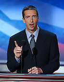 Boston, MA - July 27, 2004 -- Ron Reagan, son of former President Ronald Reagan and first lady Nancy Reagan, speaks at the 2004 Democratic National Convention in Boston, Massachusetts on July 27, 2004..Credit: Ron Sachs / CNP