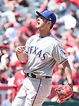 Yu Darvish (Rangers),<br /> APRIL 13, 2017 - MLB :<br /> Texas Rangers starting pitcher Yu Darvish reacts during the Major League Baseball game against the Los Angeles Angels of Anaheim at Angel Stadium of Anaheim in Anaheim, California, United States. (Photo by AFLO)