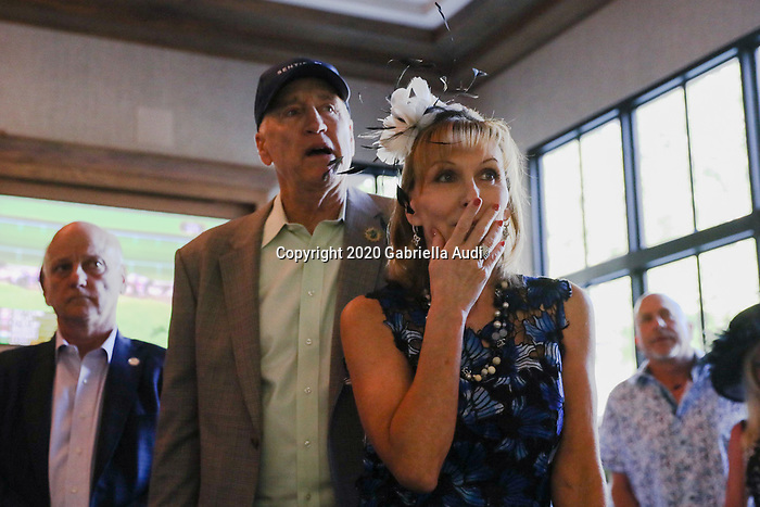 June 20, 2020: Dean and Patti Reeves watch their horse, Sole Volante, compete in the Belmont Stakes from a house in Suwanee, Georgia. Tiz The Law won the race. Gabriella Audi/Eclipse Sportswire/CSM