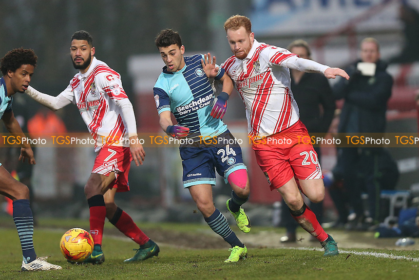 Connor Ogilvie of Stevenage and Scott Kashket of Wycombe Wanderers during Stevenage vs Wycombe Wanderers, Sky Bet EFL League 2 Football at the Lamex Stadium on 11th February 2017