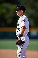 GCL Pirates first baseman Kyle Mottice (24) during a game against the GCL Yankees West on August 2, 2018 at Pirate City Complex in Bradenton, Florida.  GCL Pirates defeated GCL Yankees West 6-2.  (Mike Janes/Four Seam Images)