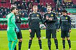 18.01.2020, WWK Arena, Muenchen, GER, 1.FBL,  FC Augsburg vs. Borussia Dortmund, DFL regulations prohibit any use of photographs as image sequences and/or quasi-video, im Bild Jubel nach dem spiel mit Erling Haaland (BVB #17) Roman Buerki (BVB #1) Mats Hummels (BVB #15) Mahmoud Dahoud (BVB #8) <br /> <br /> Foto © nordphoto / Straubmeier