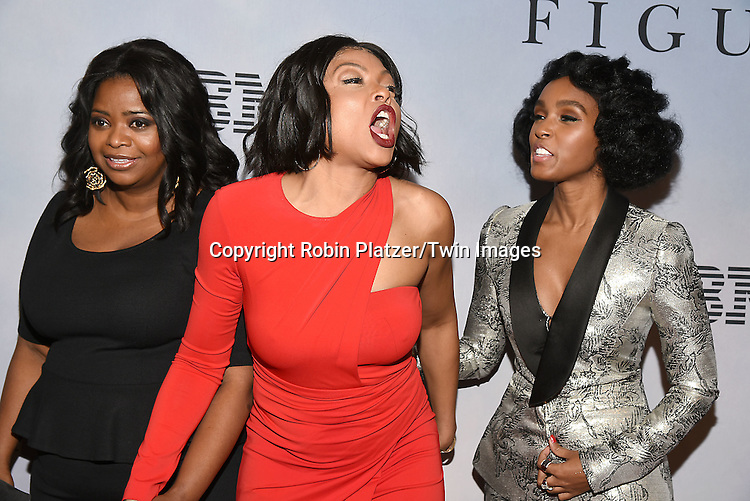 Octavia Spencer, Taraji P Henson and Janelle Monae attend &quot;Hidden Figures&quot; Special Screening on December 10, 2016 at SVA Theatre in New York, New York, USA.<br /> <br /> photo by Robin Platzer/Twin Images<br />  <br /> phone number 212-935-0770