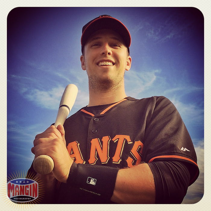SCOTTSDALE, AZ - FEBRUARY 23: Instagram of Buster Posey of the San Francisco Giants posing for a picture on photo day during spring training at Scottsdale Stadium on February 23, 2014 in Scottsdale, Arizona. Photo by Brad Mangin