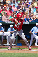 North Carolina State Wolfpack outfielder Jake Fincher #30 bats during Game 3 of the 2013 Men's College World Series between the North Carolina State Wolfpack and North Carolina Tar Heels at TD Ameritrade Park on June 16, 2013 in Omaha, Nebraska. The Wolfpack defeated the Tar Heels 8-1. (Brace Hemmelgarn/Four Seam Images)