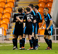 West Bromwich Albion U21's Alex Bradley celebrates scoring his side's second goal with teammates<br /> <br /> Photographer Alex Dodd/CameraSport<br /> <br /> The EFL Checkatrade Trophy Northern Group C - Blackpool v West Bromwich Albion U21 - Tuesday 9th October 2018 - Bloomfield Road - Blackpool<br />  <br /> World Copyright &copy; 2018 CameraSport. All rights reserved. 43 Linden Ave. Countesthorpe. Leicester. England. LE8 5PG - Tel: +44 (0) 116 277 4147 - admin@camerasport.com - www.camerasport.com