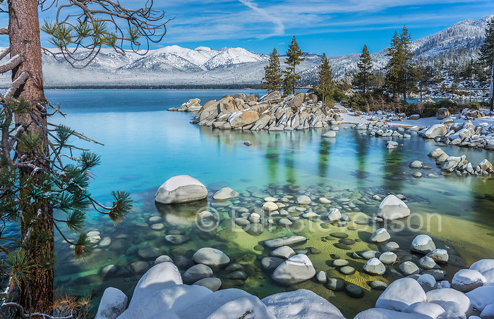 Sand Harbor in winter on the east shore of Lake Tahoe in Nevada