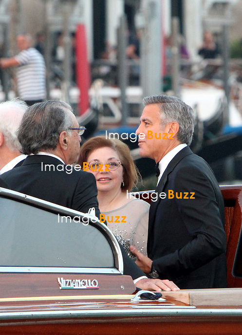 George Clooney &amp; Ramzi Alamuddin &amp; Baria Alamuddin - GEORGE CLOONEY &amp; AMAL ALAMUDDIN WEDDING CEREMONY AT THE AMAN RESORTS HOTEL IN VENICE - <br /> George Clooney &amp; British fiancee Amal Alamuddin and guests on taxi boat on the Grand Canal on their way to the seven-star Aman Hotel for the wedding celebrations.<br /> Robert De Niro, Matt Damon, Brad Pitt and Cate Blanchett were among the other stars, like Cindy Crawford, Rande Geber, Bill Murray, Emily Blunt.<br /> Italy, Venice, 27 September, 2014.