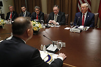 Polish President Andrzej Duda (B) and  (L-R) US National Security Advisor John, Bolton, Acting US Secretary of Homeland Security Kevin McAleenan, US Secretary of Energy Rick Perry, US Secretary of State Mike Pompeo and US President Donald J. Trump during a luncheon in the cabinet room of the White House in Washington, DC, USA, 12 June 2019. Later in the day President Trump and President Duda will participate in a signing ceremony to increase military to military cooperation including the purchase of F-35 fighter jets and an increased US troop presence in Poland. Credit: Shawn Thew/CNP/AdMedia
