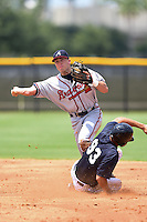 GCL Braves second baseman Luke Dykstra (5) throws to first on a double play attempt as Dominic Jose (93) slides in during the second game of a doubleheader against the GCL Yankees 1 on July 1, 2014 at the Yankees Minor League Complex in Tampa, Florida.  GCL Braves defeated the GCL Yankees 1 by a score of 3-1.  (Mike Janes/Four Seam Images)