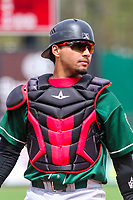 Great Lakes Loons catcher Ramon Rodriguez (13) during a Midwest League game against the Wisconsin Timber Rattlers on May 12, 2018 at Fox Cities Stadium in Appleton, Wisconsin. Wisconsin defeated Great Lakes 3-1. (Brad Krause/Four Seam Images)