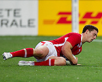 Rugby World Cup Hamilton Wales v Fiji  Pool D 02/10/2011. George North scores for Wales (Wales)   .Photo Mike Frey Fotosports International/AMN