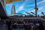 Mercat dels Encants or Els Encants Vells, a flea market in Barcelona that has existed for some seven centuries. The Abgar tower is in the background,