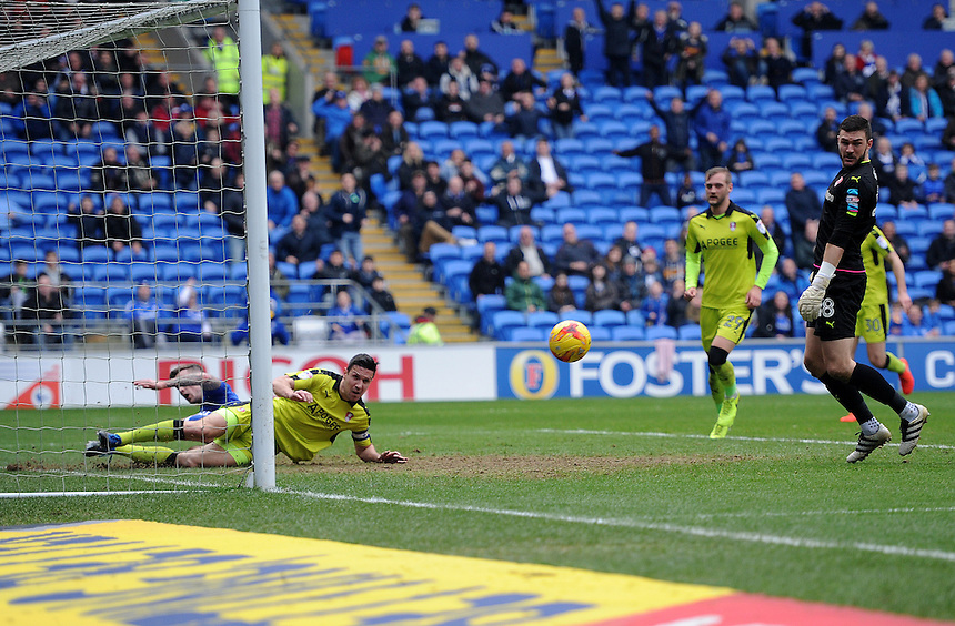 Rotherham United's Richard Wood clears the ball of the line after a shot from Cardiff City's Kadeem Harris (not in frame)  <br /> <br /> Photographer Ashley Crowden/CameraSport<br /> <br /> The EFL Sky Bet Championship - Cardiff City v Rotherham United - Saturday 18th February 2017 - Cardiff City Stadium - Cardiff<br /> <br /> World Copyright &copy; 2017 CameraSport. All rights reserved. 43 Linden Ave. Countesthorpe. Leicester. England. LE8 5PG - Tel: +44 (0) 116 277 4147 - admin@camerasport.com - www.camerasport.com