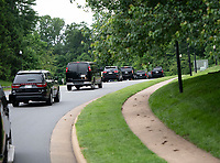 The motorcade carrying United States President Donald J. Trump departs the Trump National Golf Club in Sterling, Virginia on Saturday, May 11, 2019. Photo Credit: Ron Sachs/CNP/AdMedia