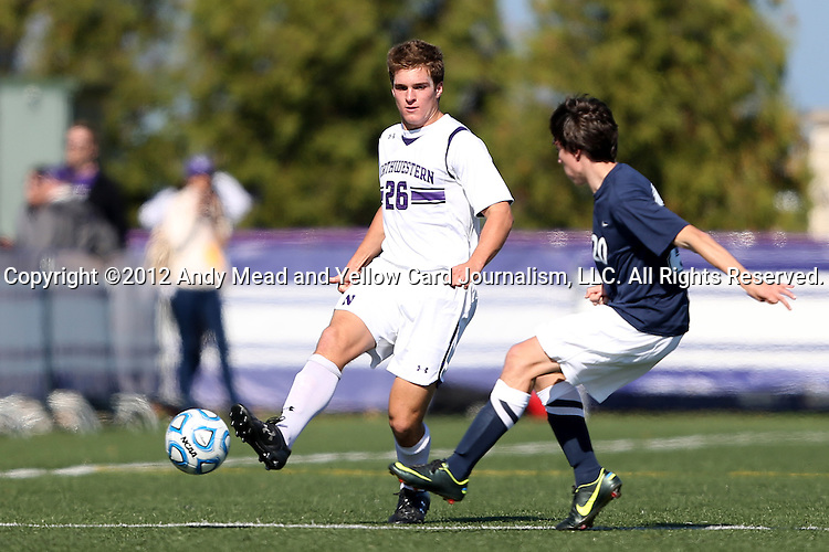 21 October 2012: Northwestern's Grant Wilson (26). The Northwestern University Wildcats played the Penn State University Nittany Lions at Lakeside Field in Evanston, Illinois in a 2012 NCAA Division I Men's Soccer game. Penn State won the game 1-0 in golden goal overtime.