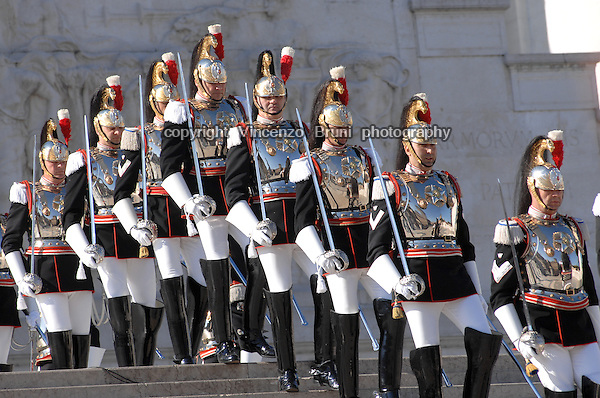 A group of Corazzieri, Guards of Honor of President of the Italian Republic, stand at King's Vittorio Emanuele I Memorial in Rome on June 2, 2014.