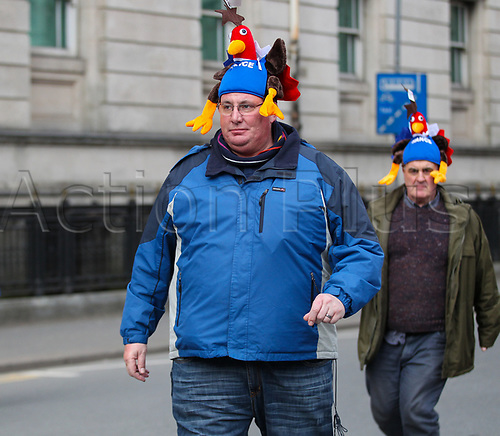 17th March 2018, Principality Stadium, Cardiff, Wales; NatWest Six Nations rugby, Wales versus France; A France supporter arrives at the stadium