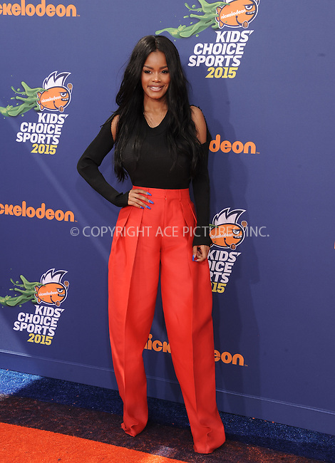 WWW.ACEPIXS.COM<br /> <br /> July 16 2015, LA<br /> <br /> Teyana Taylor arriving at the Nickelodeon Kids' Choice Sports Awards 2015 at UCLA's Pauley Pavilion on July 16, 2015 in Westwood, California.<br /> <br /> By Line: Peter West/ACE Pictures<br /> <br /> <br /> ACE Pictures, Inc.<br /> tel: 646 769 0430<br /> Email: info@acepixs.com<br /> www.acepixs.com