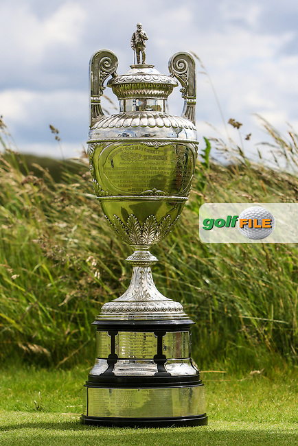 The Amateur Championship Trophy on the 1st tee during Round 1 of the The Amateur Championship 2019 at The Island Golf Club, Co. Dublin on Monday 17th June 2019.<br /> Picture:  Thos Caffrey / Golffile<br /> <br /> All photo usage must carry mandatory copyright credit (© Golffile | Thos Caffrey)