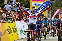 LLANOGRANDE - COLOMBIA, 14-02-2019: Juan Sebastián Molano, ciclista colombiano del equipo UAE Emirates, celebra como ganador de la tercera etapa del Tour Colombia 2.1 2019 con un recorrido de 167.6 Km, que se corrió en un circuito con salida y llegada en el Complex Llanogrande. / Juan Sebastian Molano cyclist of Colombia of UAE Emirates team celebrates as winner of the third stage of the Tour Colombia 2.1 2019 the third stage of the Tour Colombia 2.1 2019 with a distance of 167.6 km, which was run on a circuit with start and finish at the Complex Llanogrande. Photo: VizzorImage / Anderson Bonilla / Cont.
