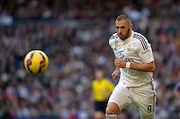 MADRID - ESPAÑA - 10-01-2015: Benzema, jugador de Real Madrid durante partido de la Liga de España, Real Madrid y Espanyol en el estadio Santiago Bernabeu de la ciudad de Madrid, España. / Benzema, player of Real Madrid during a match between Real Madrid and Espanyol for the Liga of Spain in the Santiago Bernabeu stadium in Madrid, Spain  Photo: Asnerp / Patricio Realpe / VizzorImage.