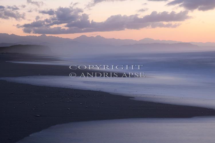 Dusk, Okarito coastline. Westland Region. New Zealand.