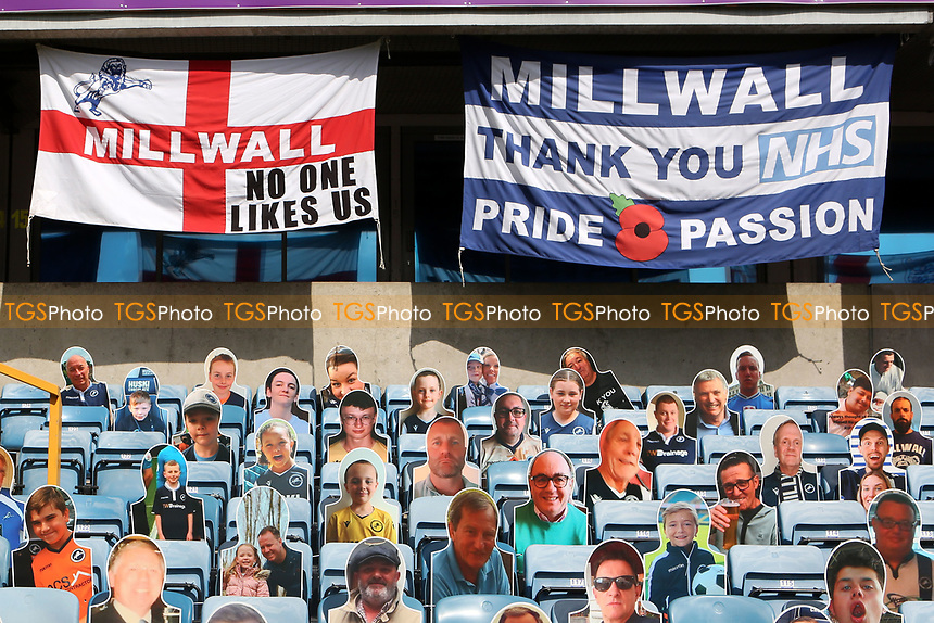 Millwall banners and flags on display in the Dockers Stand along with some cardboard cutouts of fans during Millwall vs Stoke City, Sky Bet EFL Championship Football at The Den on 12th September 2020