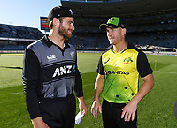 Captains Kane Williamson and David Warner. New Zealand Black Caps v Australia.Tri-Series International Twenty20 cricket. Eden Park, Auckland, New Zealand. Friday 16 February 2018. © Copyright Photo: Andrew Cornaga / www.Photosport.nz
