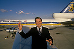 Sir Adam Thompson was the founder and chairman of British Caledonian one of Britain's most successful independent airlines.  Gatwick Airport 1980. 1980s UK