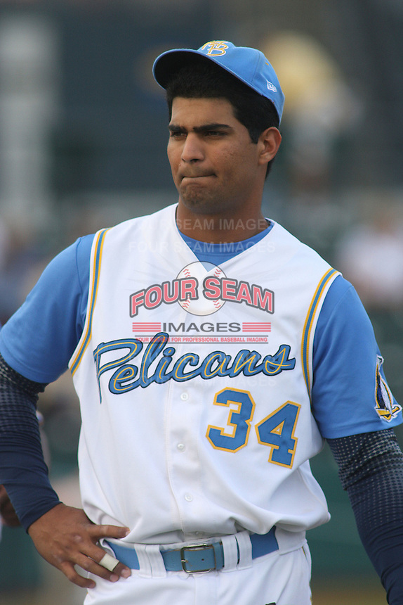 Ernesto Mejia of the Myrtle Beach Pelicans  versus the Potomac Nationals at BB&T Coastal Field in Myrtle Beach, SC on May 6, 2008