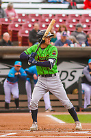 Lake County Captains shortstop Tyler Freeman (7) at bat during a Midwest League game against the Wisconsin Timber Rattlers on May 10, 2019 at Fox Cities Stadium in Appleton, Wisconsin. Wisconsin defeated Lake County 5-4. (Brad Krause/Four Seam Images)