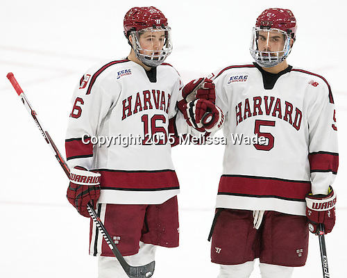 Ryan Donato (Harvard - 16), Clay Anderson (Harvard - 5) - The Harvard University Crimson defeated the visiting Brown University Brown Bears 5-2 (EN) on Saturday, November 7, 2015, at Bright-Landry Center in Boston, Massachusetts.