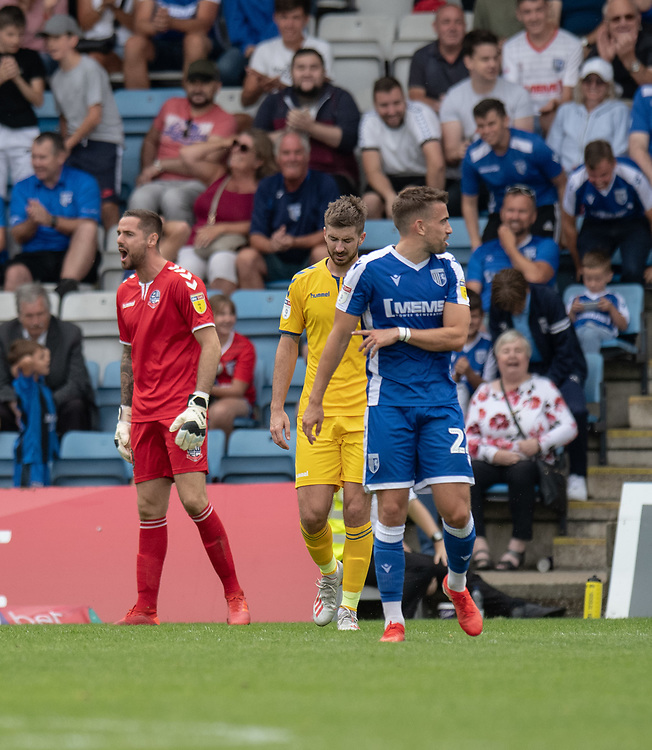 Bolton Wanderers' keep Remi Matthews (left) shouts with frustration at the Bolton Wanderers defenders after conceding a 4th goal<br /> <br /> Photographer David Horton/CameraSport<br /> <br /> The EFL Sky Bet League One - Gillingham v Bolton Wanderers - Saturday 31st August 2019 - Priestfield Stadium - Gillingham<br /> <br /> World Copyright © 2019 CameraSport. All rights reserved. 43 Linden Ave. Countesthorpe. Leicester. England. LE8 5PG - Tel: +44 (0) 116 277 4147 - admin@camerasport.com - www.camerasport.com