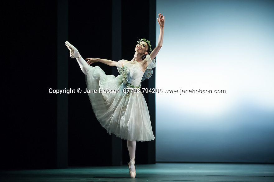 """London, UK. 19.05.2014. English National Ballet presents the final of EMERGING DANCER 2014, at the Lyceum Theatre in London's West End. Picture shows: Senri Kou and Vitor Menezes in """"La Sylphide"""". Photograph © Jane Hobson."""