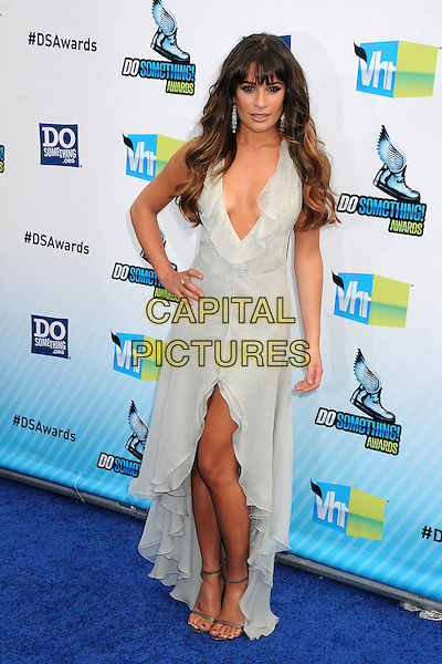 Lea Michele.The 2012 Do Something Awards at the Barker Hangar in Santa Monica, California, USA..August 19th, 2012.full length sleeveless dress white plunging neckline ruffle slit split grey gray cleavage hand on hip.CAP/ADM/BP.©Byron Purvis/AdMedia/Capital Pictures.