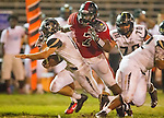 Inglewood, CA 10/09/14 - Nick Orlando (Peninsula #15) and Charles Akanno (Morningside #7) in action during the Palos Verdes Peninsula vs Morningside CIF Varsity football game at Coleman Field in Inglewood.  Peninsula defeated Morningside 24-13.