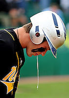 Jun. 1, 2010; Grand Junction, CO, USA; Southern Nevada Coyotes right fielder Bryce Harper spits against Iowa Western C.C. during the Junior College World Series as Suplizio Field. Southern Nevada won the game 12-7. Mandatory Credit: Mark J. Rebilas-