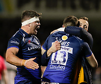 6th March 2020; AJ Bell Stadium, Salford, Lancashire, England; Gallagher Premiership Rugby, Sale Sharks versus London Irish;  Jono Ross (C) of Sale Sharks and  Byron McGuigan  congratulate  Sam James  after scoring his try